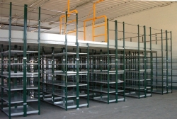 Shelf rack with a platform above the racks